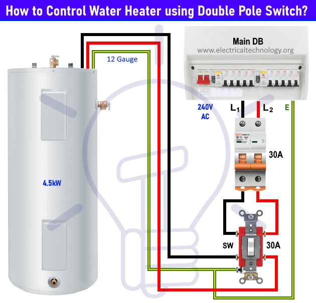 Geyser switch wiring diagram using a double pole switch